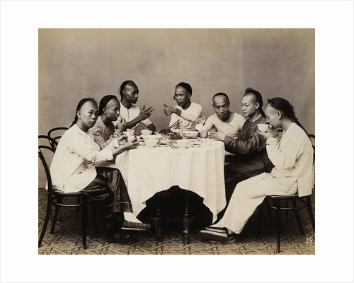 Group of Young Chinese Men Having Lunch by Corbis