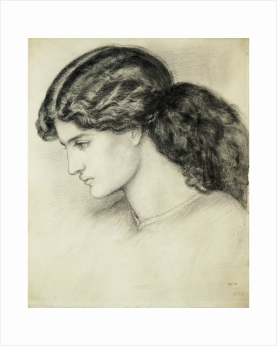 Portrait Sketch of a Ladies Head by Dante Gabriel Rossetti