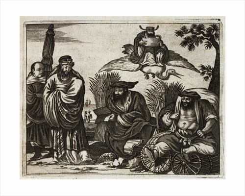 17th-Century Engraving Depicting Chinese Merchants Consulting Fortune Tellers by Corbis