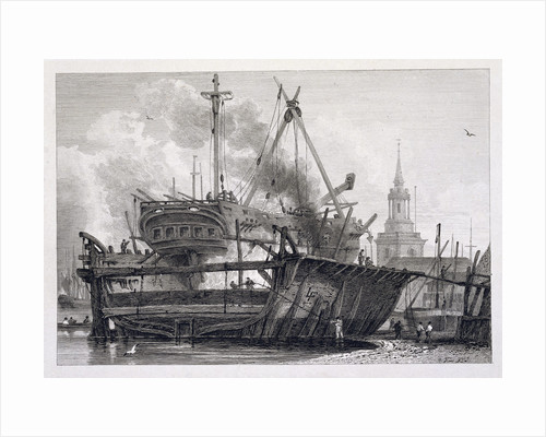 Etching of the Rotherhithe in Floating Dock, 1815 by Corbis