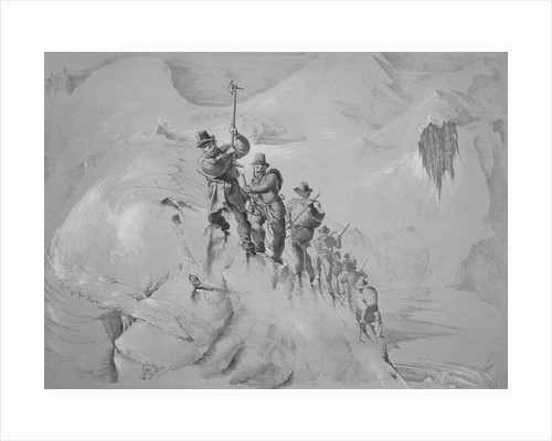 Illustration Depicting Expedition Members Ascending Mont Blanc by Corbis