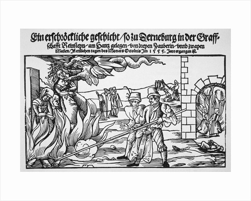 16th Century Print of People Burning Three Witches Alive by Corbis