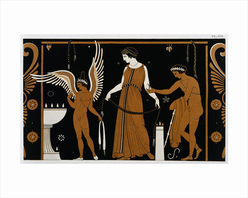 19th Century Greek Vase Illustration of Eros Before an Altar with a Woman by Corbis