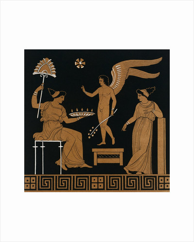 19th Century Greek Vase Illustration of Eros with Two Courtesans by Corbis