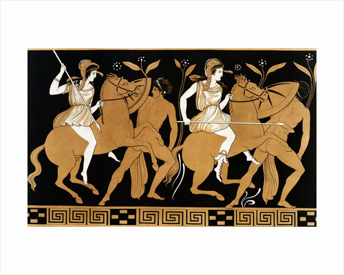 19th Century Greek Vase Illustration of Two Amazons on Horses After Two Youths by Corbis