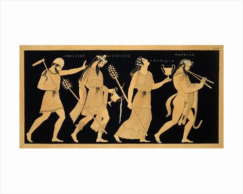 19th Century Antique Vase Illustration of Dionysus and Three Figures by Corbis