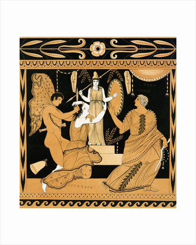 19th Century Greek Vase Illustration of Cassandra with Apollo and Minerva by Corbis