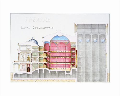 Architectural Drawing of Theatre Building with Cross-Sectional View by H. Monnot