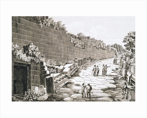 Etching of Tourists on Excavated Roman Road by Luigi Rossini
