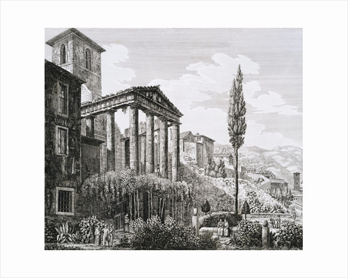 Etching of Temple of Hercules with Tourists and Gardens by Luigi Rossini