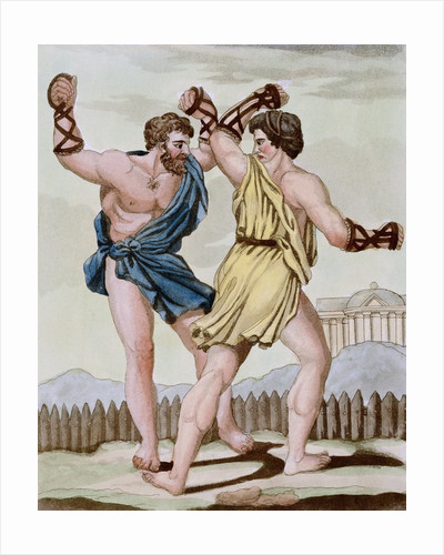 Color Print from Engraving Showing Gladiators Boxing by Jacques Grasset de Saint-Sauveur and L.F. Labrousse by Corbis