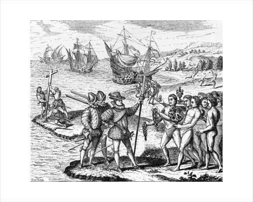 Etching of Spanish Explorers and Indigenous People by Bertrand