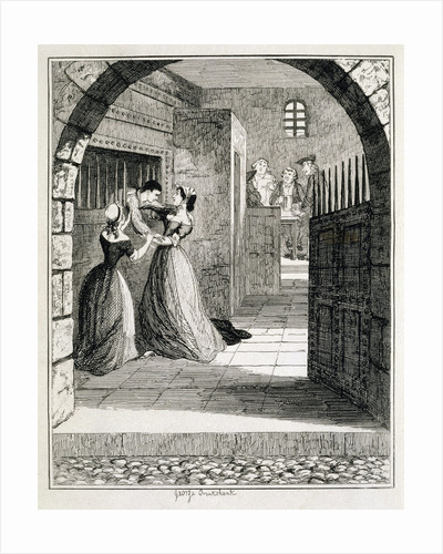 Illustration of Jack Sheppard Escaping from his Cell at Newgate Prison by George Cruikshank