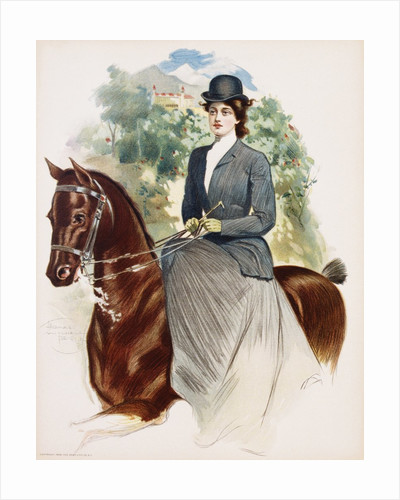 Poster Depicting a Woman Riding Sidesaddle by Thomas Mitchell Peirce