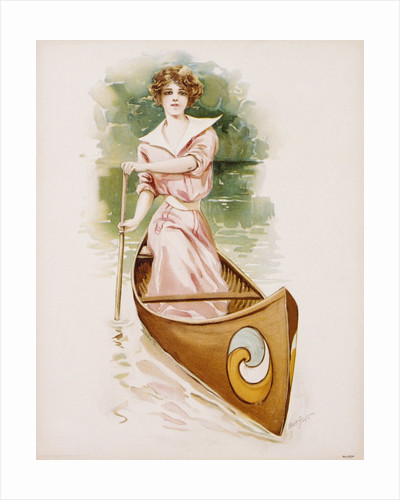 Poster Depicting a Woman Canoeing by Maud Stumm