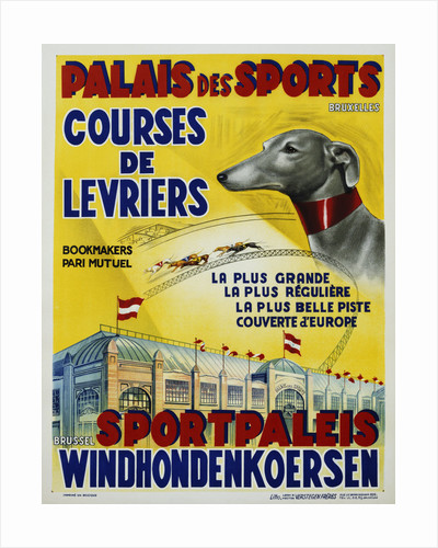 Palais des Sports - Courses de Levriers - Sportspalais Windhondenkoersen Dog Racing Poster by Corbis