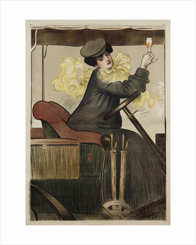 Poster with Woman in Vintage Automobile Holding Up Sherry Glass by Ramon Casas Carbo