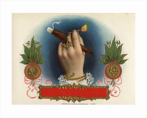 Cigar Box Label with Female Hand Holding a Match by Corbis