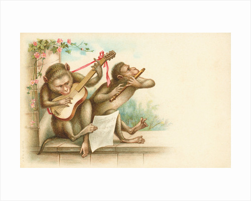 Victorian Postcard of Monkey Musicians by Corbis