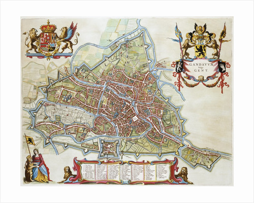 Gandavum Map of Ghent by Jan Blaeu