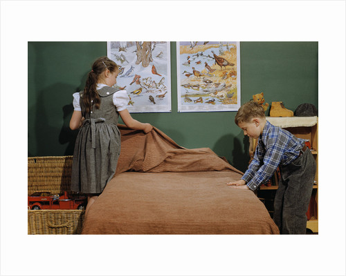 Children Making a Bed by Corbis