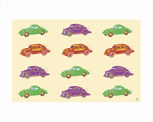 Cars in Green, Purple and Orange by Steve Collier