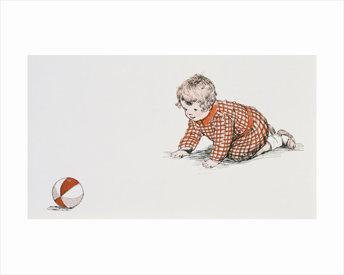 Baby's Year Book Book Illustration with Baby Chasing Ball by Meta Morris Grimball