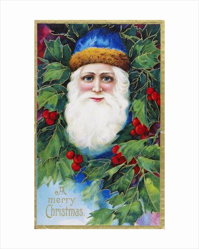 A Merry Christmas Postcard Depicting Santa Claus by Corbis