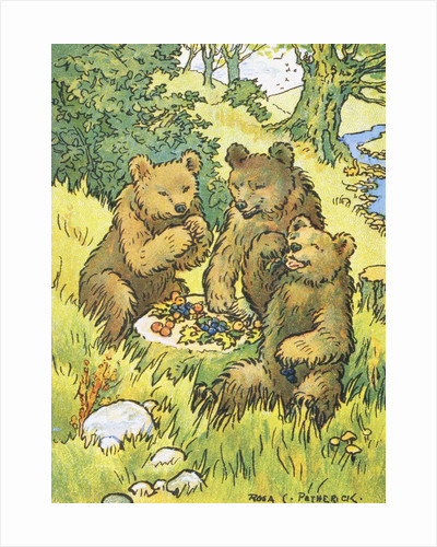 Illustration Depicting Three Picnicking Bears by Rosa C. Petherick