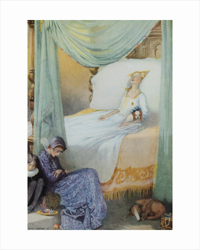 Illustration Depicting Sleeping Beauty and Her Attendants Asleep by Honor C. Appleton