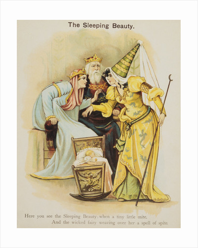Book Illustration Depicting Fairy Uglyane Casting a Spell on Sleeping Beauty by Corbis