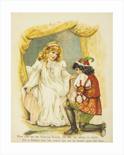 Book Illustration Depicting the Prince Kneeling Before Sleeping Beauty by Corbis