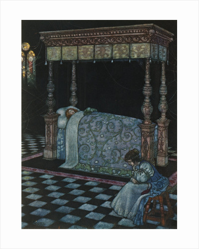 Illustration Depicting Sleeping Beauty and Her Attendant Asleep by W. Heath Robinson