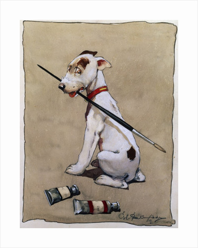 Illustration of a Dog Holding a Paintbrush by Cecil Aldin
