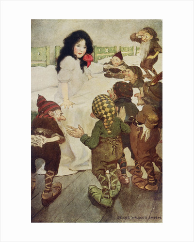Illustration of the Dwarfs Discovering Snow White by Jessie Willcox Smith