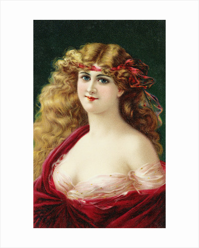 Postcard of Young Woman Wearing a Red Dress by Corbis