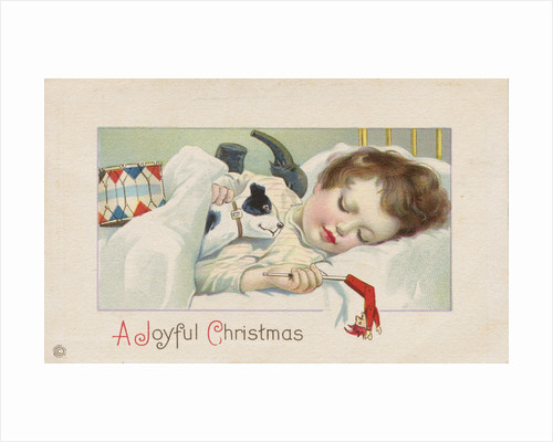 A Joyful Christmas Postcard with Sleeping Child by Corbis