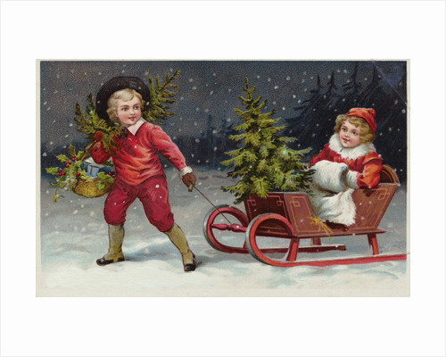 Postcard with Children and a Sleigh by Corbis