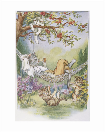 Illustration of Relaxing Cats from Pussy-Willow's Naughty Kittens by Lillian E. Young