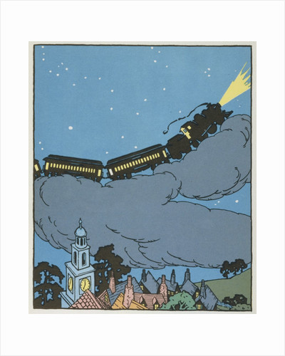 Illustration of a Train on a Cloud by Gertrude Kay