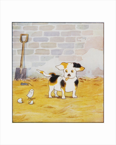 Illustration of a Puppy and a Chick from Watty: A White Puppy by Mrs. Ernest Ames