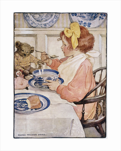 Illustration of a Little Girl Eating Porridge by Jessie Willcox Smith