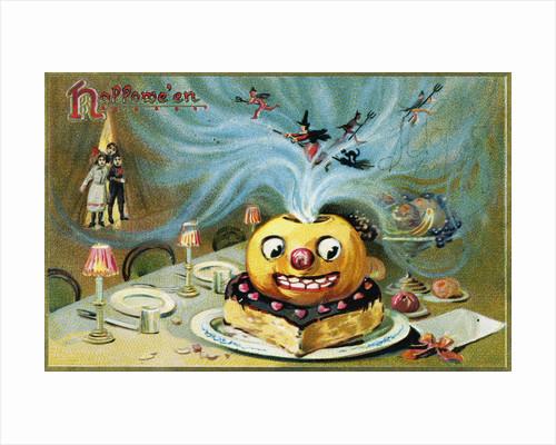 Halloween Postcard with a Magic Jack-O'-Lantern by Corbis