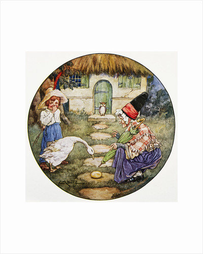 Book Illustration Showing Jack and the Goose that Laid the Golden Egg by Clara M. Burd