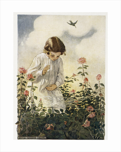 Illustration of a Girl and a Spider Web by Jessie Willcox Smith