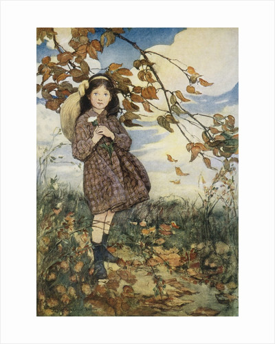 Illustration of a Girl and Autumn Leaves by Jessie Willcox Smith