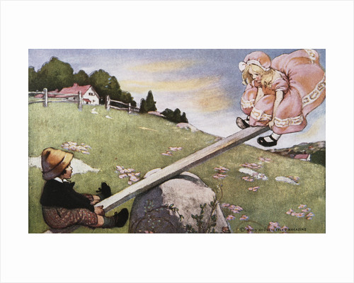 Illustration of a Boy and a Girl on a Seesaw by Jessie Willcox Smith