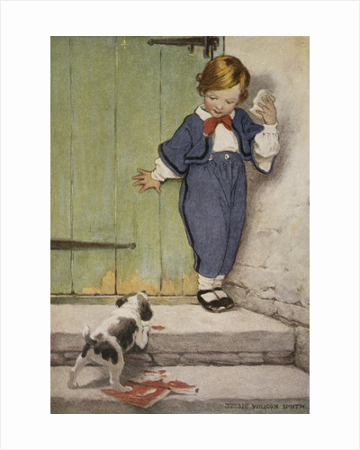 Illustration of a Boy and a Puppy by Jessie Willcox Smith