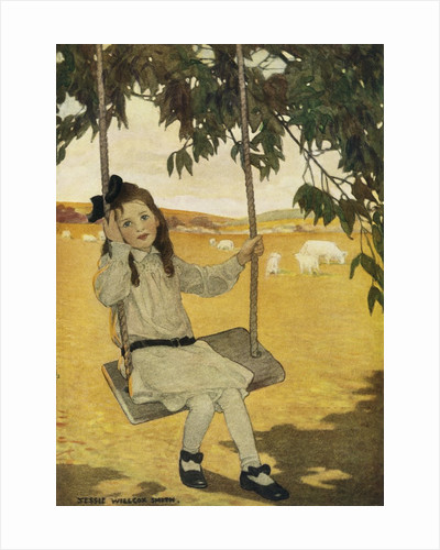 Illustration of a Girl on a Swing by Jessie Willcox Smith