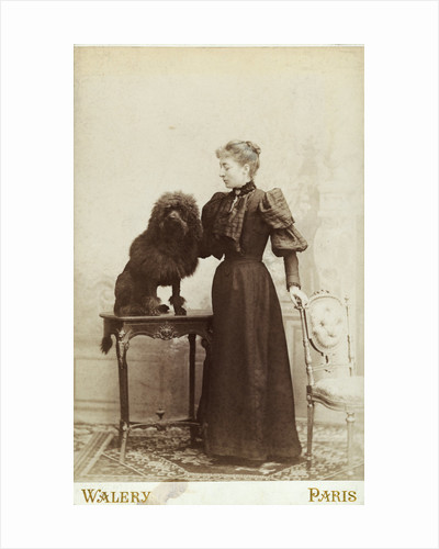 Albumen Print Card Showing Woman with a Black Miniature Poodle by Corbis